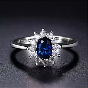 NWT Classic Blue Crystal Ring